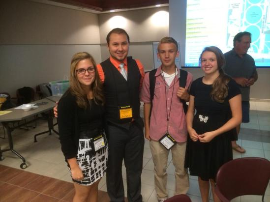 Taylor Plunkett, Brandon Banks, Hunter Hedgepath, and Kayla Huff after the Build-A-Business Camp Pitch Competition.